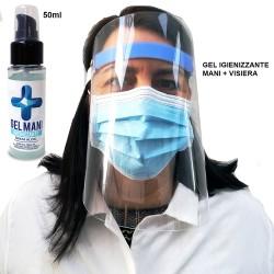 Visiera protettiva plastica trasparente + gel igienizzante mani